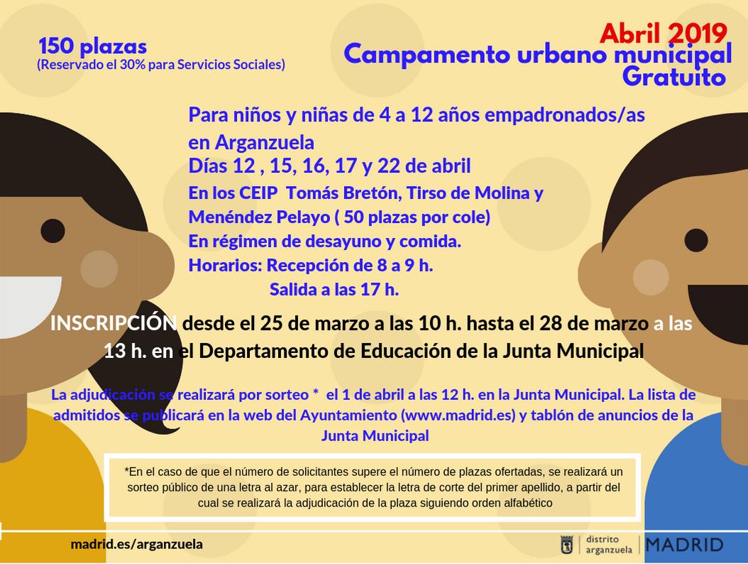 Campamentos urbanos infantiles en Arganzuela