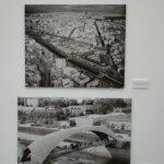 Fotos de vista aérea del distrito y puente pasarela sobre Madrid Río
