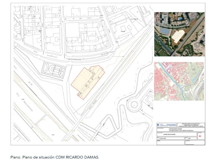 Plano de ubicación del CDM Ricardo Damas en Arganzuela