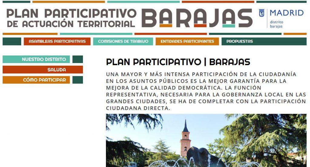 Imagen de la web del Plan Participativo de Actuación Territorial del distrito de Barajas.