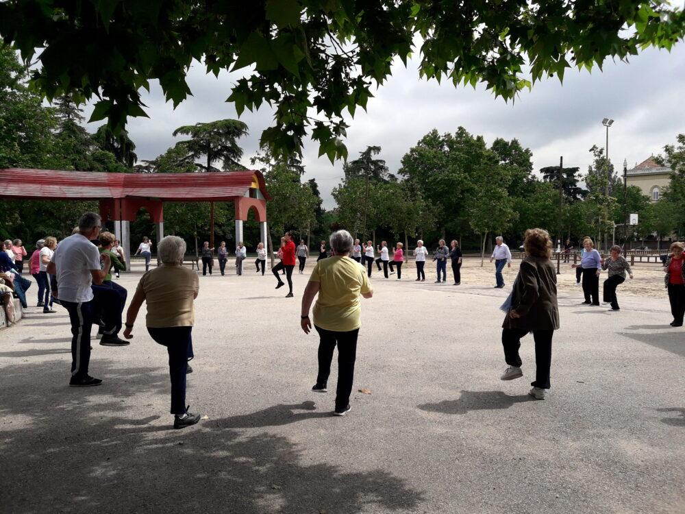 Gimnasia en el parque (imagen de archivo)
