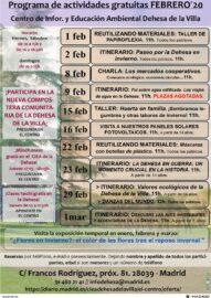 Actividades febrero 2020 CIEA Dehesa de la Villa