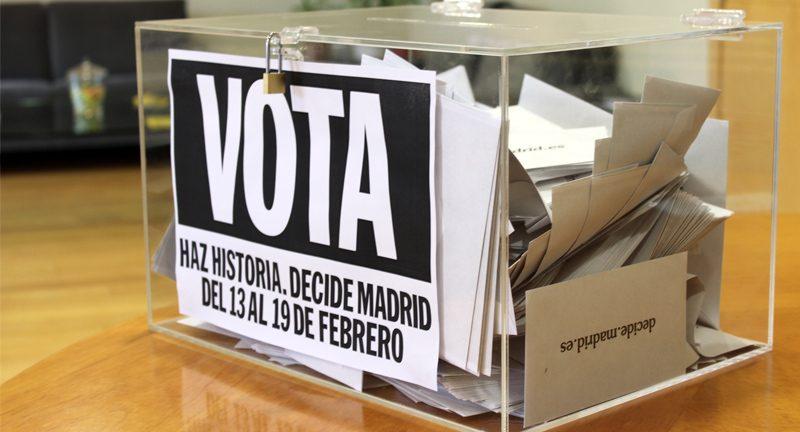 Urna de la votación ciudadana de Madrid