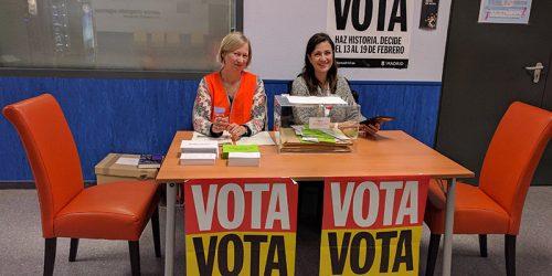 Mesa de votación en el Centro Integrado de Arganzuela