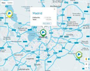 Mapa Infoparticipa de la Comunidad de Madrid.