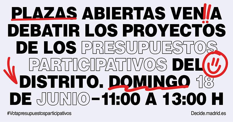 Plazas Abiertas, evento para debatir sobre presupuestos participativos.