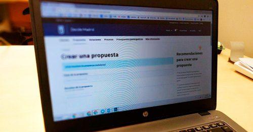 Web de propuestas ciudadanas de Decide Madrid.