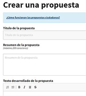 Creación de una propuesta en Decide Madrid