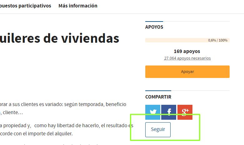 Botón de seguir propuesta o proyecto de gasto en la web de Decide Madrid