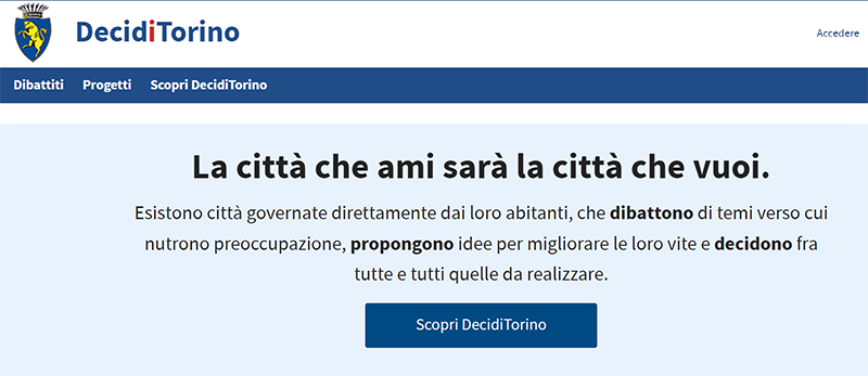Portada de la web Decidi Torino