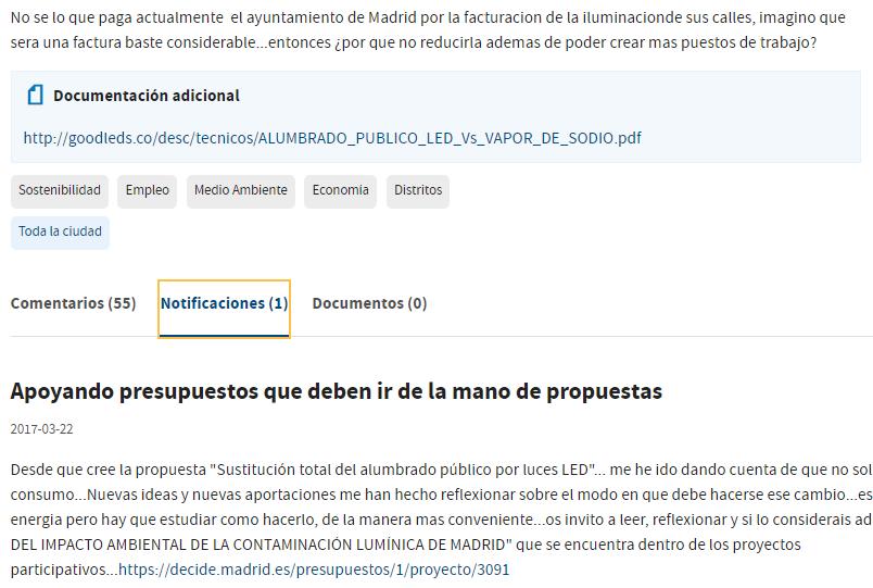 Pestaña de Notificaciones con mensajes del/la proponente en la página de la propuesta o proyecto en Decide Madrid