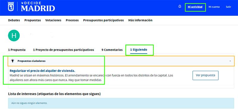 Dónde ver las propuestas ciudadanas y los proyectos de gasto que sigues en Decide Madrid.