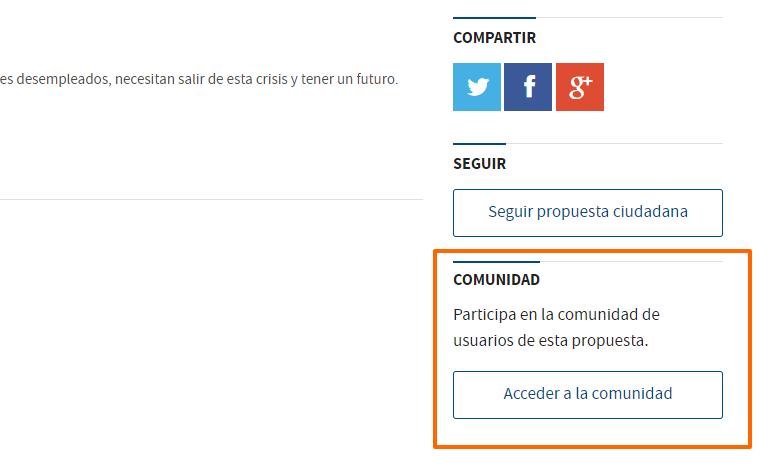Acceso a la comunidad de usuarios de Decide Madrid