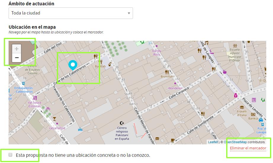 Módulo de ubicación de propuestas en Decide Madrid