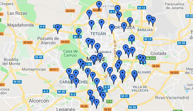 Mapa de los contenedores para reciclar aceite en Madrid