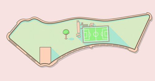 Ilustración del plano de situación de la instalación deportiva Oña Sanchinarro.