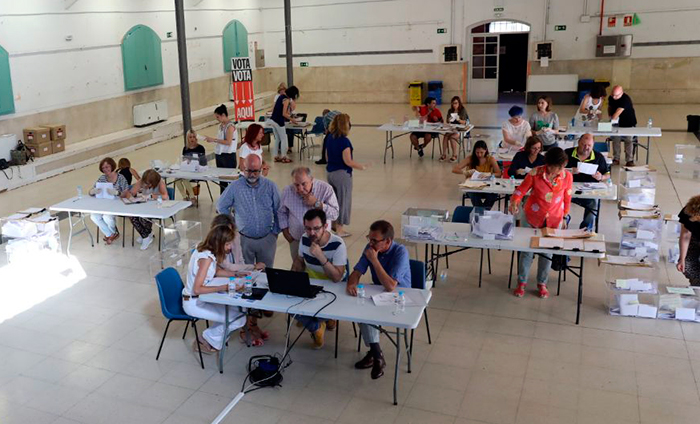 Líneas de recuento de votos de de presupuestos participativos en Nave de Terneras.