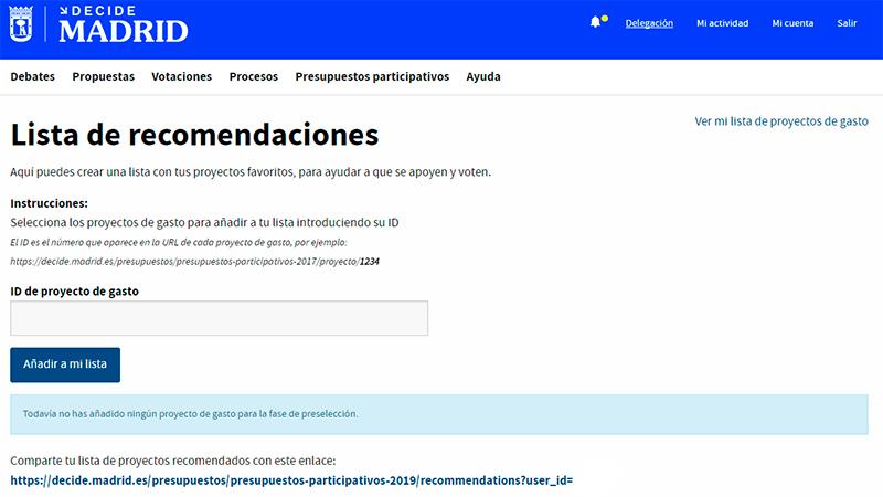 Lista de recomendaciones de proyectos de presupuestos participativos de Decide Madrid.