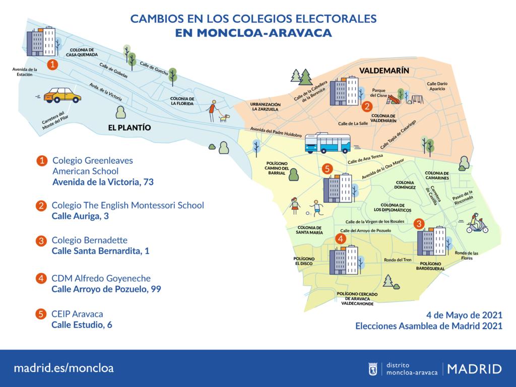 Plano general de los cambios en los colegios electorales
