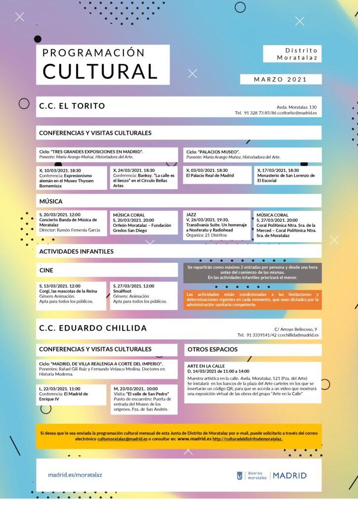 Programación cultural marzo Moratalaz