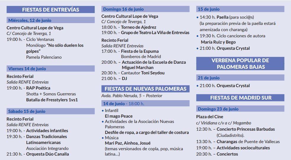 Fiestas de Barrios en Puente de Vallecas 2019