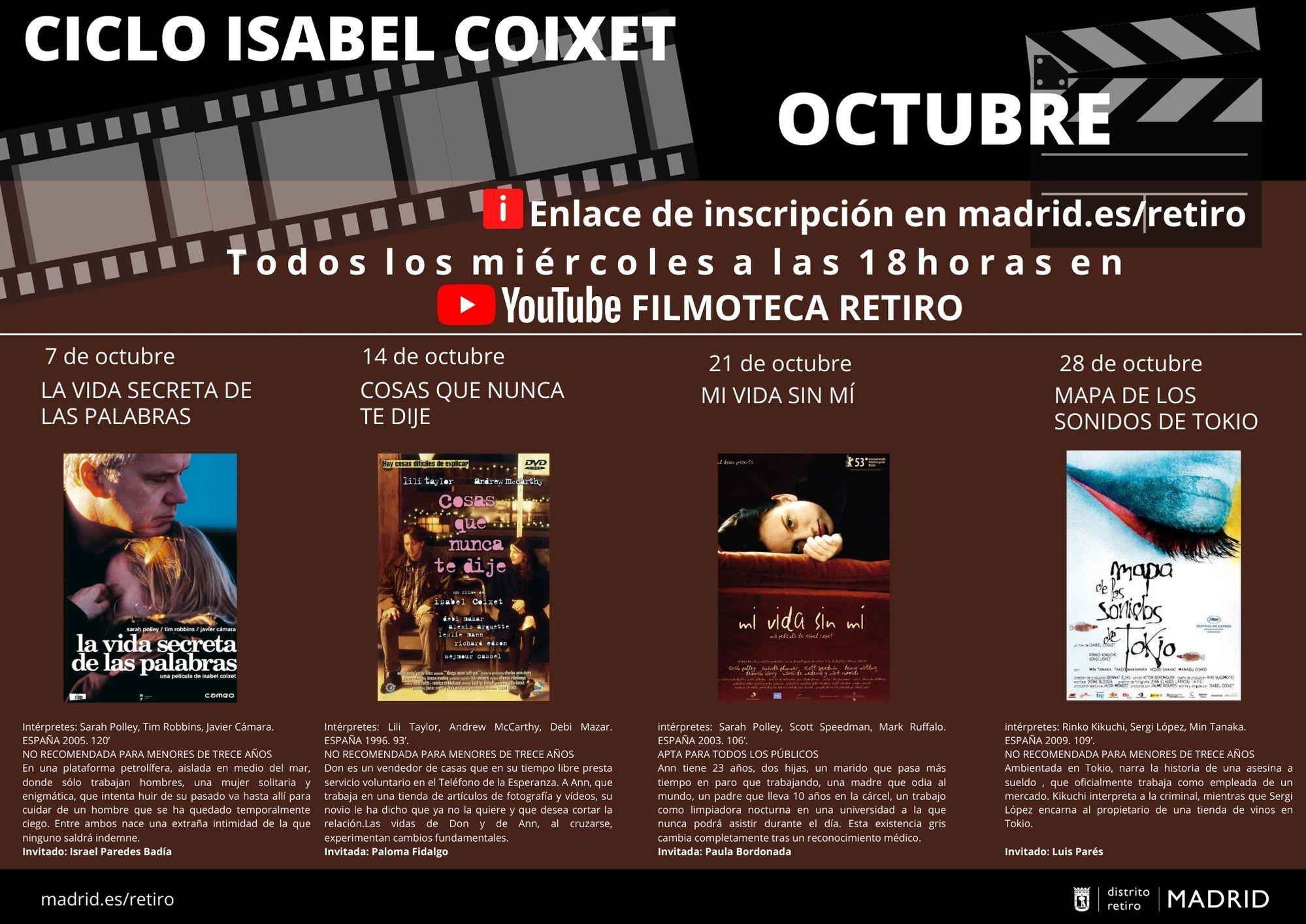 Filmoteca Retiro. Ciclo de cine dedicado a Isabel Coixet