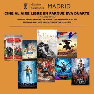Cartel de cine al aire libre parque Eva Duarte