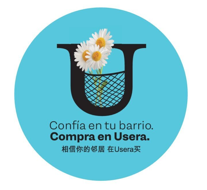 Logo de la campaña con el lema Confía en tu barrio. Compra en Usera