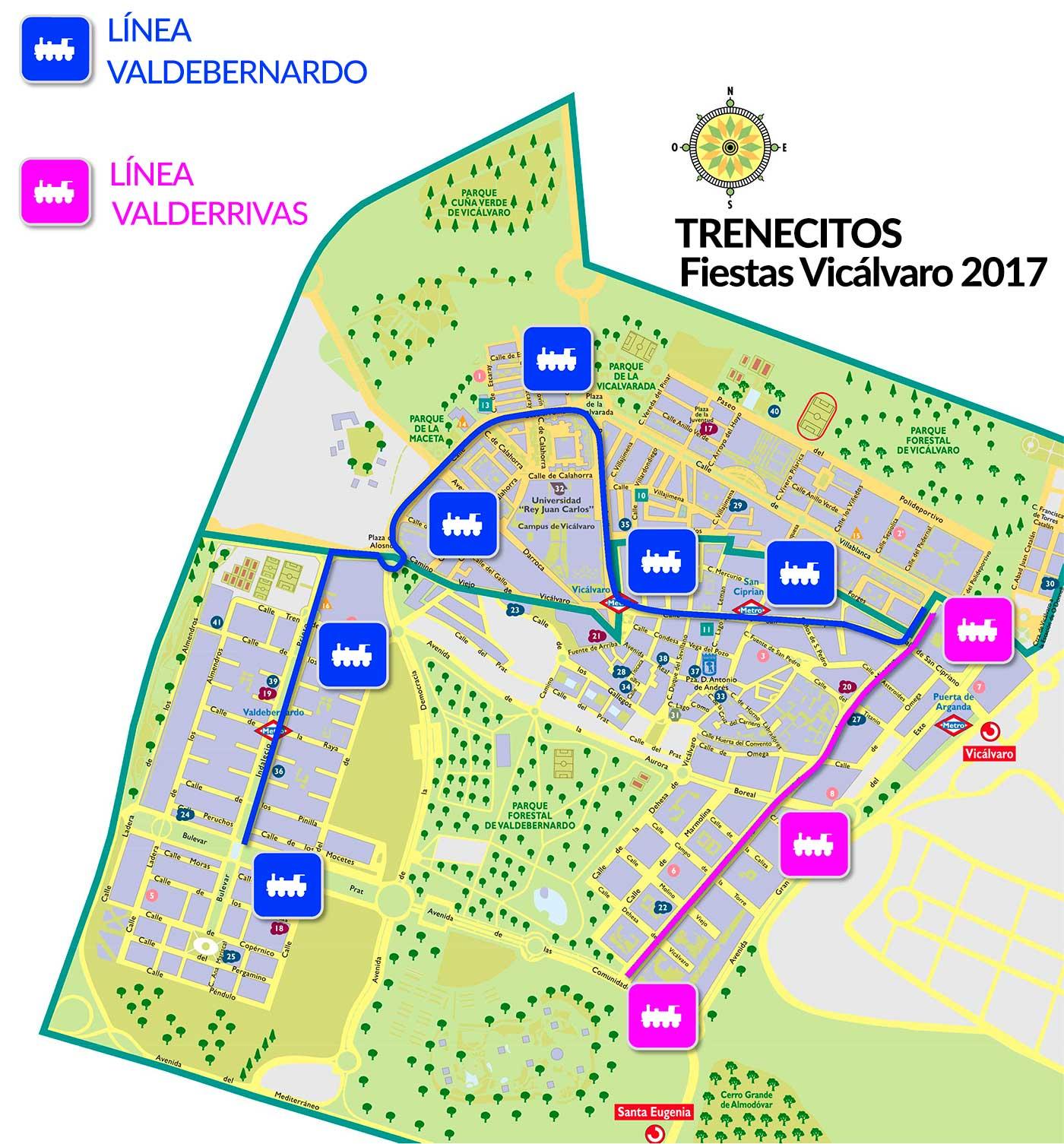 detalle mapa Vicálvaro con paradas de trenecitos
