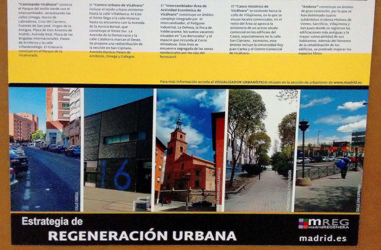 detalle de panel informativo sobre Plan de Regeneración Urbana