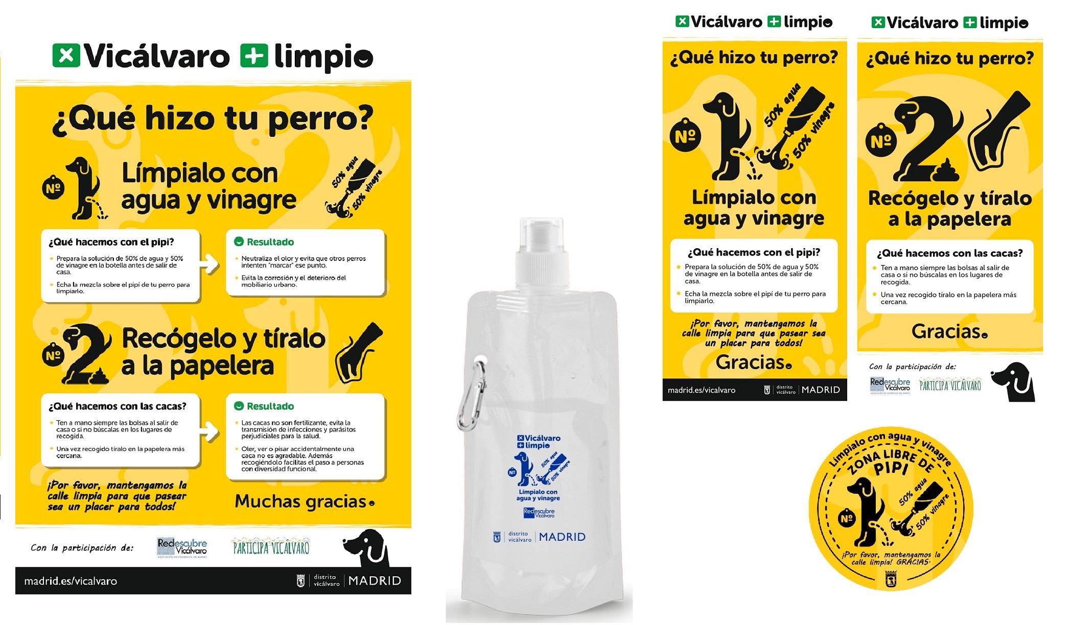 Materiales de la campaña Por un Vicálvaro más limpio sobre residuos caninos