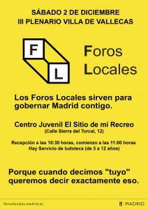 Convocatoria del Foro Local Villa de Vallecas, reunida en sesión plenaria