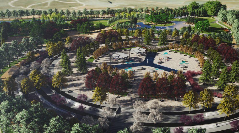 Infografía con una perspectiva aéra del proyecto licitado para el Parque de la Gavia