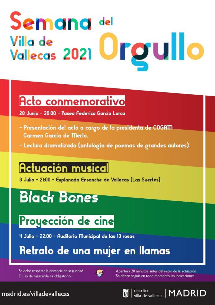 Cartel Semana del Orgullo 2021 en Villa de Vallecas