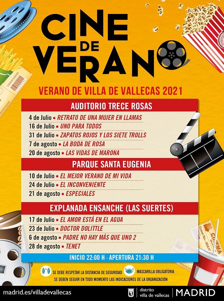 Cartelera del Cine de Verano en Villa de Vallecas