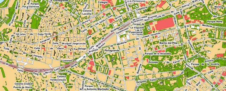 Detalle del mapa de Madrid
