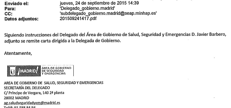 Justificante del correo de Javier Barbero a Concepción Dancausa