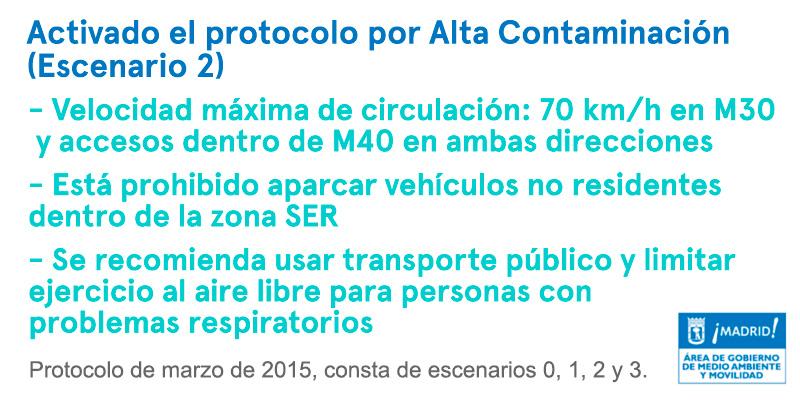 Protocolo por Alta Contaminación, escenario 2