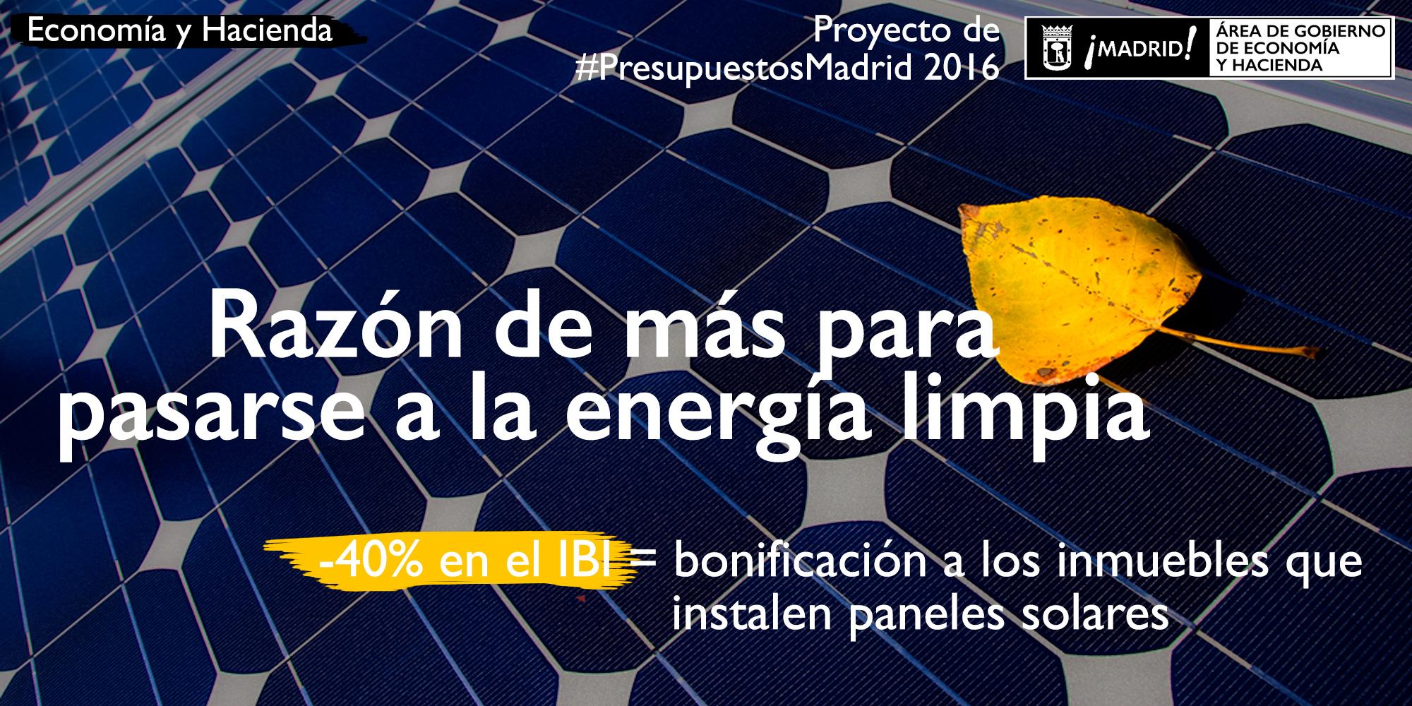 Bonificación en el IBI para instalar paneles solares