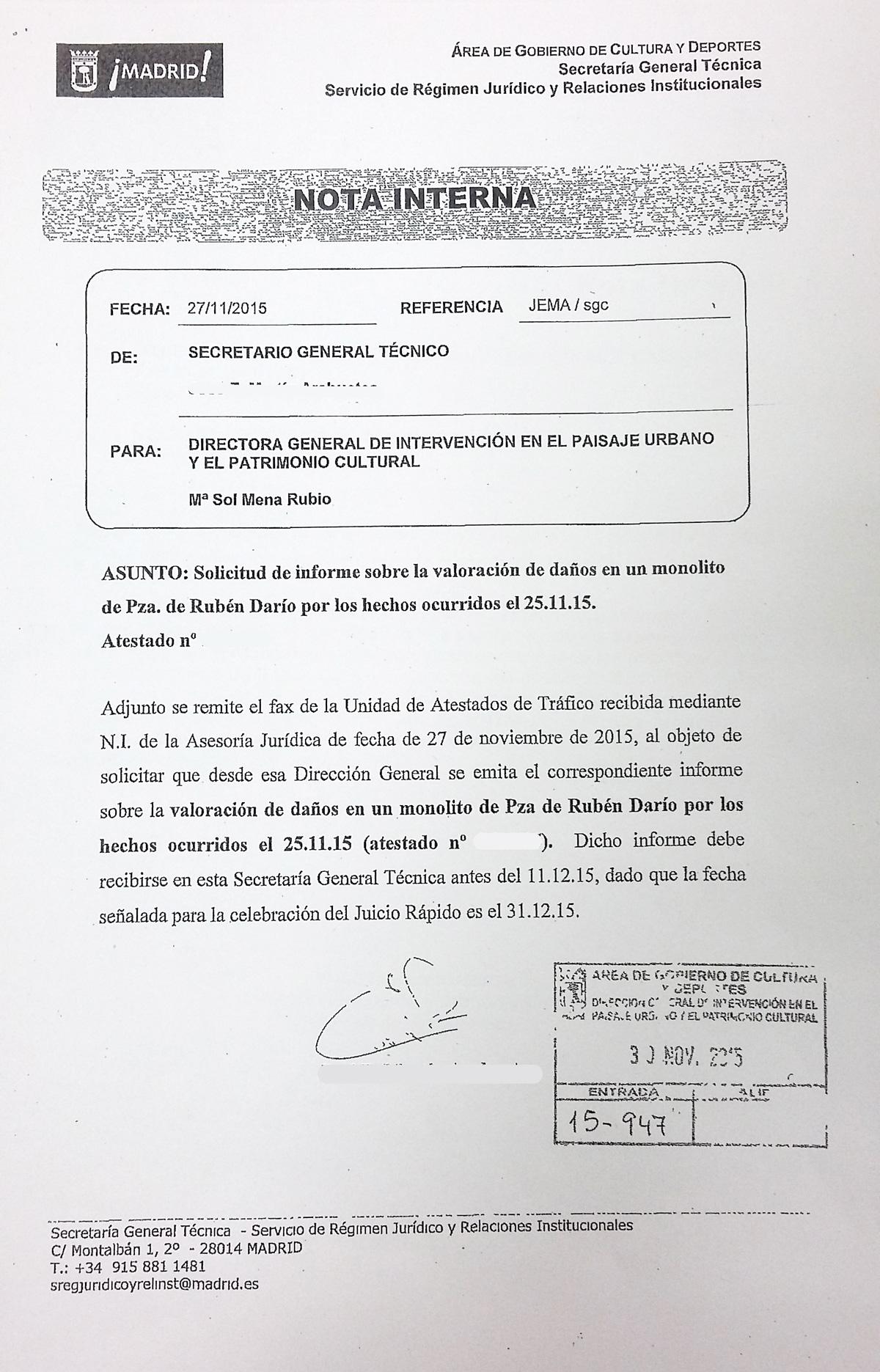 Nota interna sobre el monolito de la plaza Rubén Darío