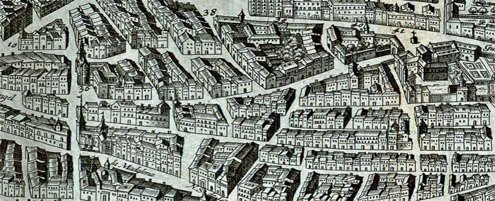 El barrio de las Letras en tiempos de Miguel de Cervantes. Detalle del plano de Antonio Mancelli. 1623