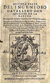 Portada de la primera edición de la segunda parte del Quijote