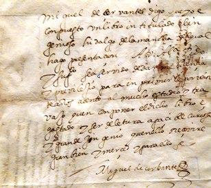 Solicitud de licencia de impresión de Francisco de Robles firmada por Miguel de Cervantes.