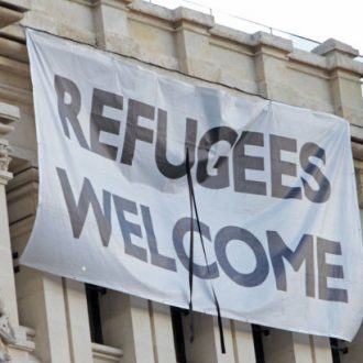 Pancarta Refugees Welcome