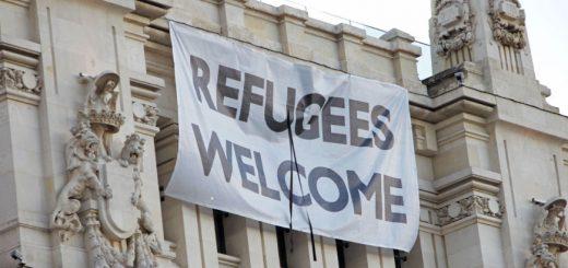 Pancarta Refugees Welcome