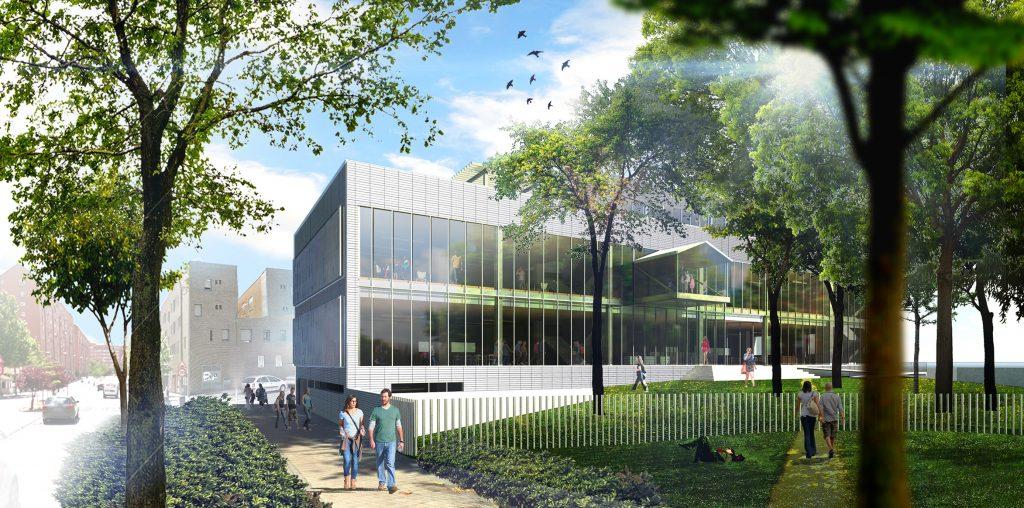 Proyecto de la nueva biblioteca de San Fermín. Vista de la fachada norte