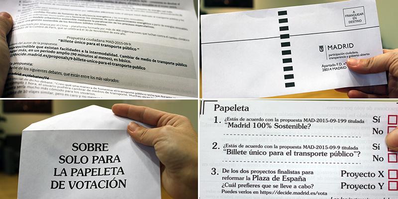 Carta informativa, papeleta de voto, sobre para la papeleta y sobre prefranqueado de la votación ciudadana. Foto: Decide Madrid/CC-BY-SA 4.0