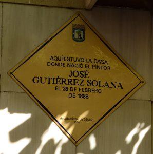 Placa conmemorativa Gutiérrez Solana