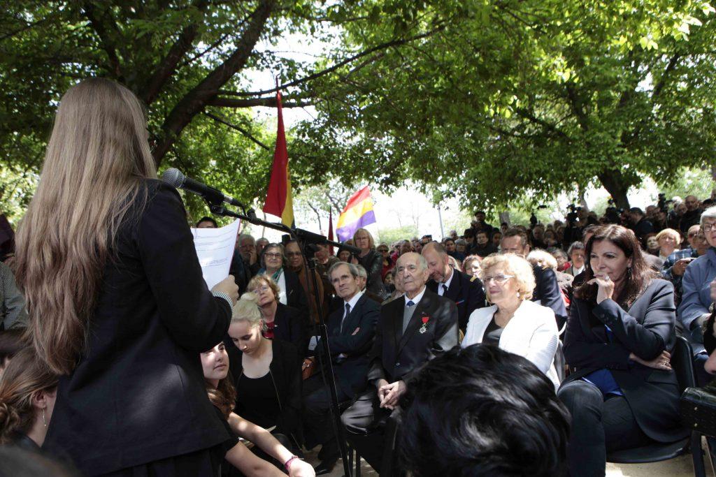 En el acto de inauguración del Jardín de los Combatientes de La Nueve, en Ciudad Lineal
