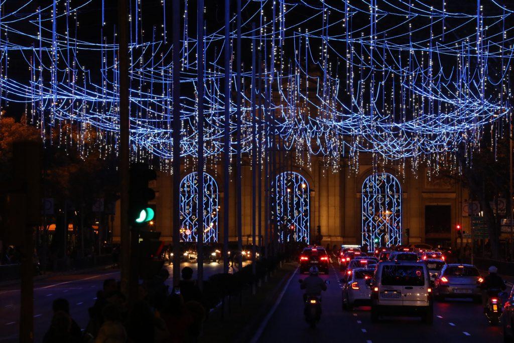 Iluminación navideña de 2017. Imagen de archivo
